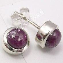 Chanti International Silver натуральный рабис унисекс Jewelry Серьги-гвоздики 0.8 см новый пункт