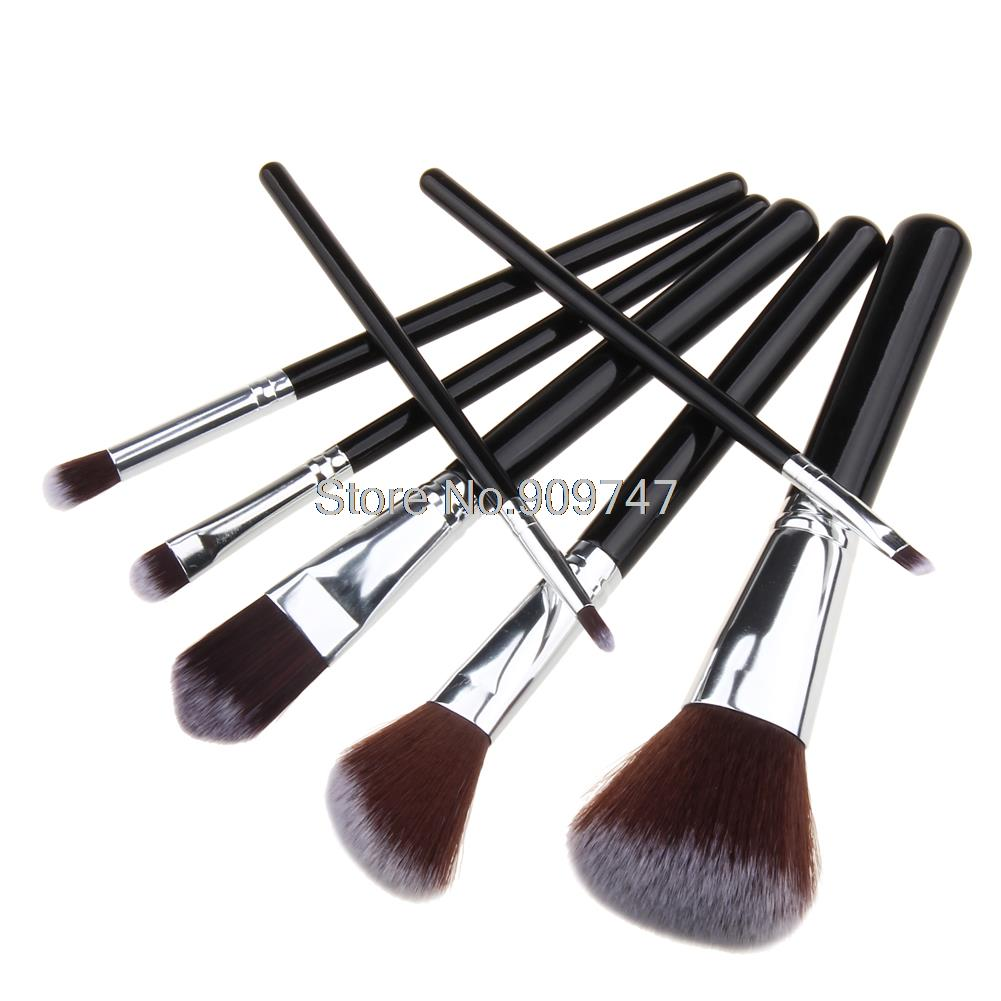 7 pcs Black Gold and Black Silver Makeup Brush Tools Porfessional Foundation Shadow make up brushes Cosmetic Brushes new fashion sweatproof wireless bluetooth v4 0 sports stereo headphones with mic ear hook earbuds earphones for iphone for sony