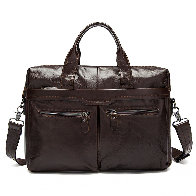 Genuine Leather Bag Casual Handbags Cowhide Men Crossbody Bags Men's Travel Bags Tote 14inch Laptop Business Briefcases Men Bag