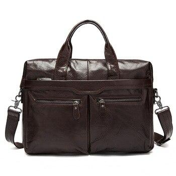 Genuine Leather Bag Casual Handbags Cowhide Men Crossbody Bags Men's Travel Bags Tote 14inch Laptop Business Briefcases Men Bag Men's Backpacks