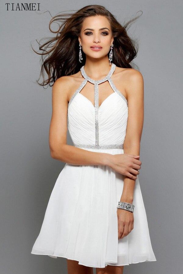 Popular White Halter Cocktail Dress-Buy Cheap White Halter ...