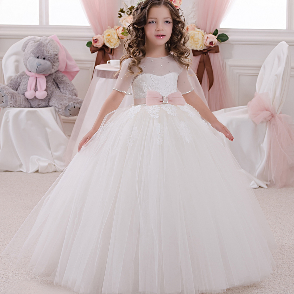 Flower Girl Dresses Hot White Zipper Ball Gown Floor Length Short Sleeves Kids Beauty Pageant Dresses Robe Communion Enfant ball gown short sleeves knee length summer flower girl dresses girls party pageant communion dress