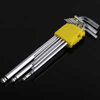 9 Uds toma Allen llave hexagonal de 1,5mm-10mm acero al carbono par llave reforzado fuerte métrica bola terminó herramienta