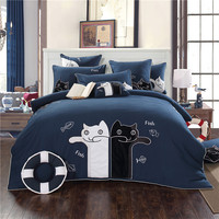 New 4/7pcs 100%Cotton Luxury Cartoon Bedding set Queen/King Size Embroidery cat Bed set Duvet cover Bed linen Pillowcases
