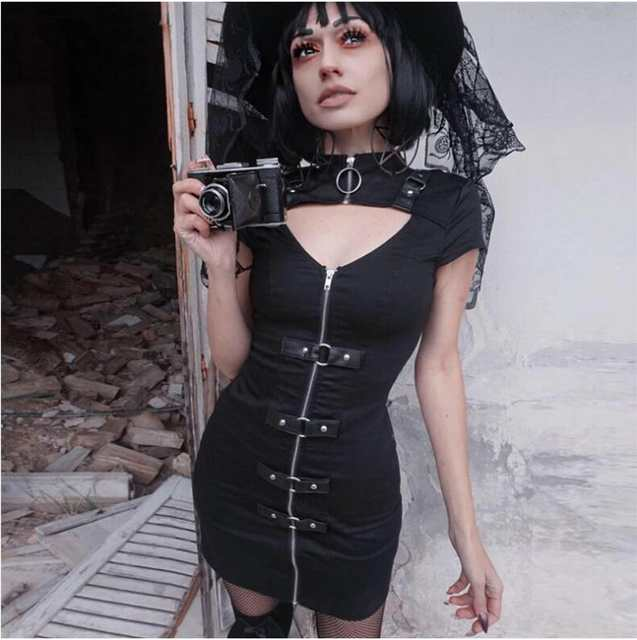 058075df03452 Women's autumn and winter wear short sleeved tight dress goth wind zipper  dress new trend PU leather buckle clothing-in Dresses from Women's Clothing  on ...