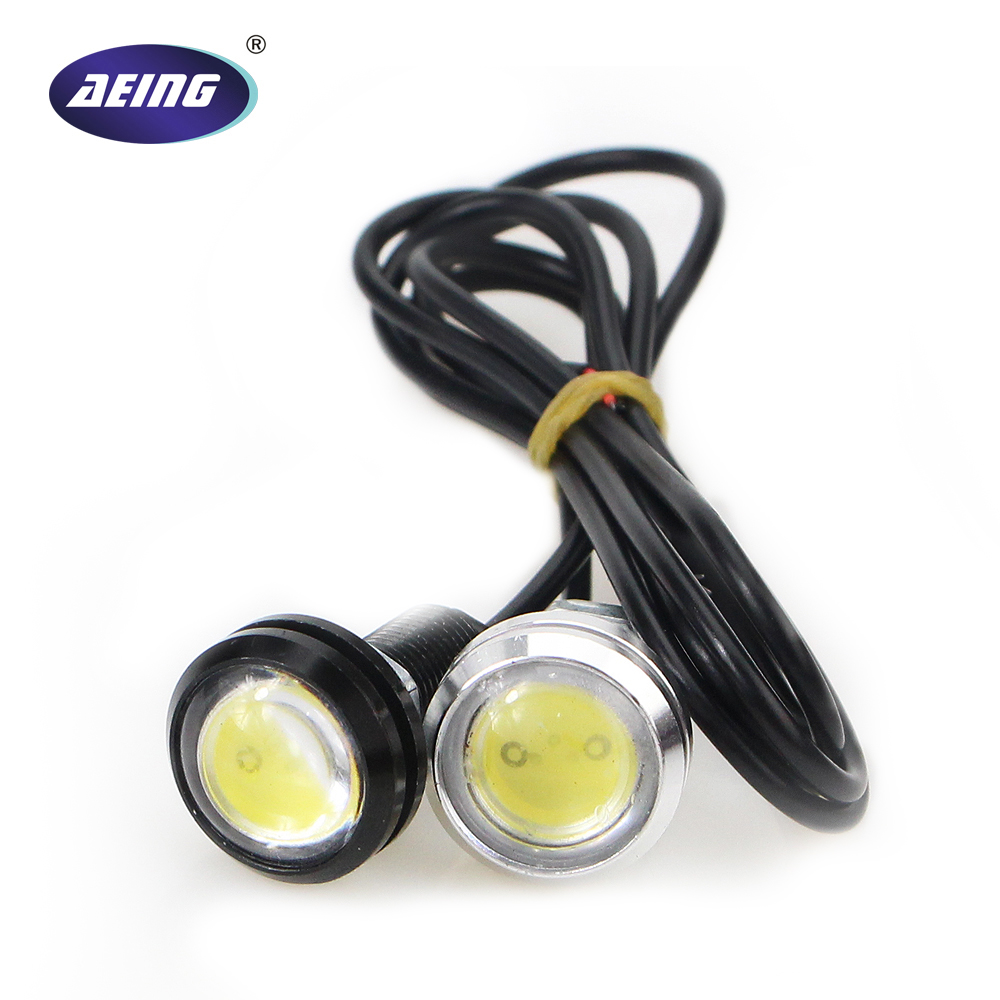 1* 23mm 12V/24V Car Styling Waterproof White Eagle Eye LED Daytime Running Light DRL Backup Reverse license plate Parking Lamp new arrival a pair 10w pure white 5630 3 smd led eagle eye lamp car back up daytime running fog light bulb 120lumen 18mm dc12v