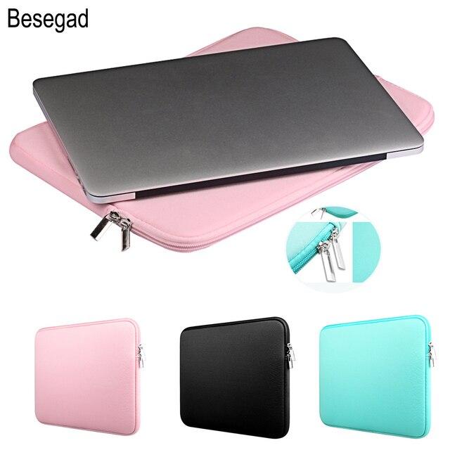 Besegad Almacenamiento de transporte funda protectora para ordenador portátil funda bolsa de piel funda para MacBook Mac Book Pro Air 11 13 13,3 15 15,4 pulgadas