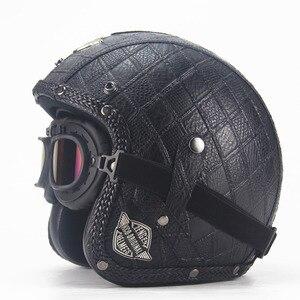 Image 4 - Dorosłych skórzane kaski 3/4 kask motocyklowy wysokiej jakości rower chopper kask otwarta twarz rocznika motocros