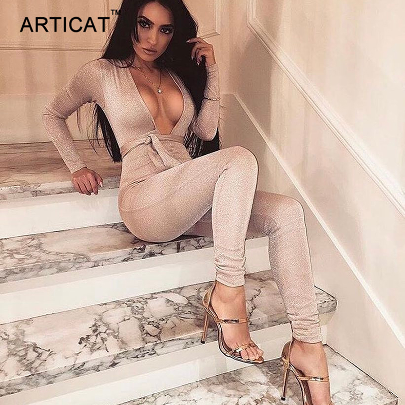 Articat Sexy Bodycon Bandage   Jumpsuit   Women 2019 Deep V Neck Autumn Winter Rompers Overalls Elegant Party Bodysuits Playsuits