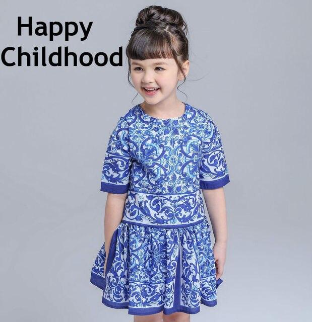 2016 Summer/Spring Brand Blue Girls Dresses 3-13Y kids dresses for girls 1pc short sleeves flower girls clothes majolica print