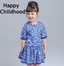 2016 Summer/Spring Brand Blue Girls Dresses 3-13Y kids dresses for girls 1pc short sleeves flower girls clothes majolica print