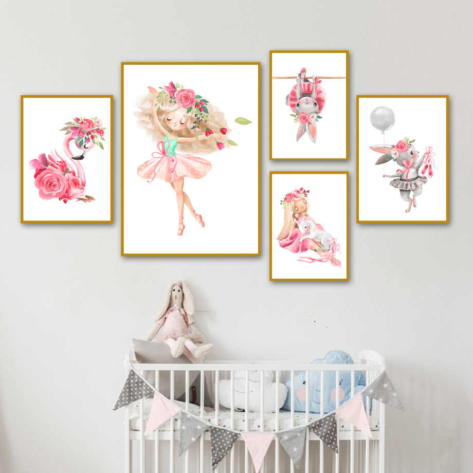 Cute Girl Rabbit Unicorn Flamingo Rose Flower Nordic Posters And Prints Wall Art Canvas Painting Wall Pictures Kids Room Decor
