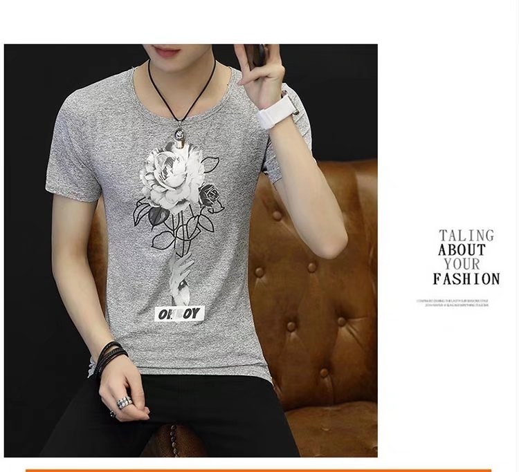 Spring 100% Cotton Casual Short Sleeve Rose Printing Men T Shirt O-neck Knitted Comfortable Fabric Street Style Men T-shirt 53