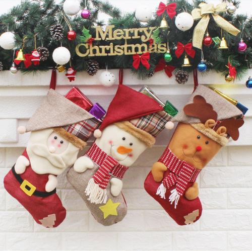 1Pcs Christmas Stocking Santa Claus Snowmen Elk Candy Gifts Bag Xmas Hanging Ornament New Year Christmas Stocking Party Decor