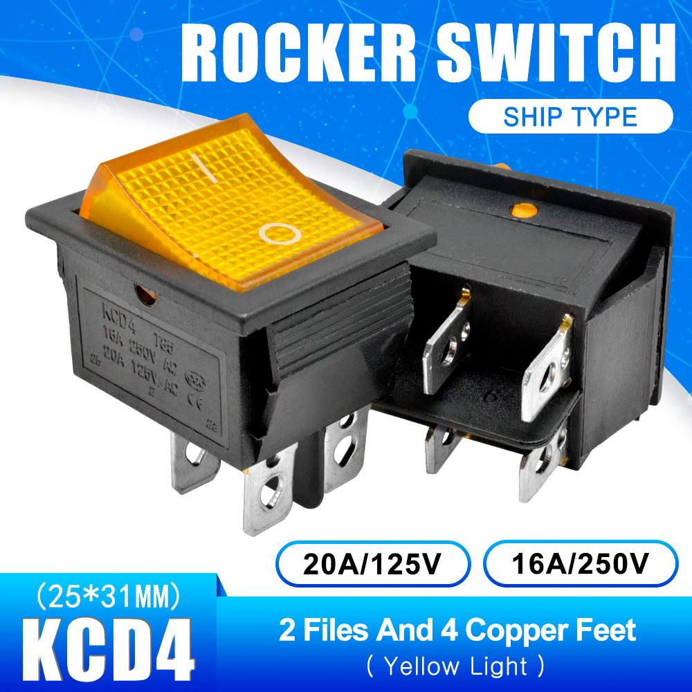 KCD4 Кулисный Переключатель Кнопка ВКЛ/ВЫКЛ 2 Позиции 4 штырей, 6pins, электротехническое оборудование с светильник Мощность переключатель 16A 250VAC AC 250V - Цвет: Yellow with Light