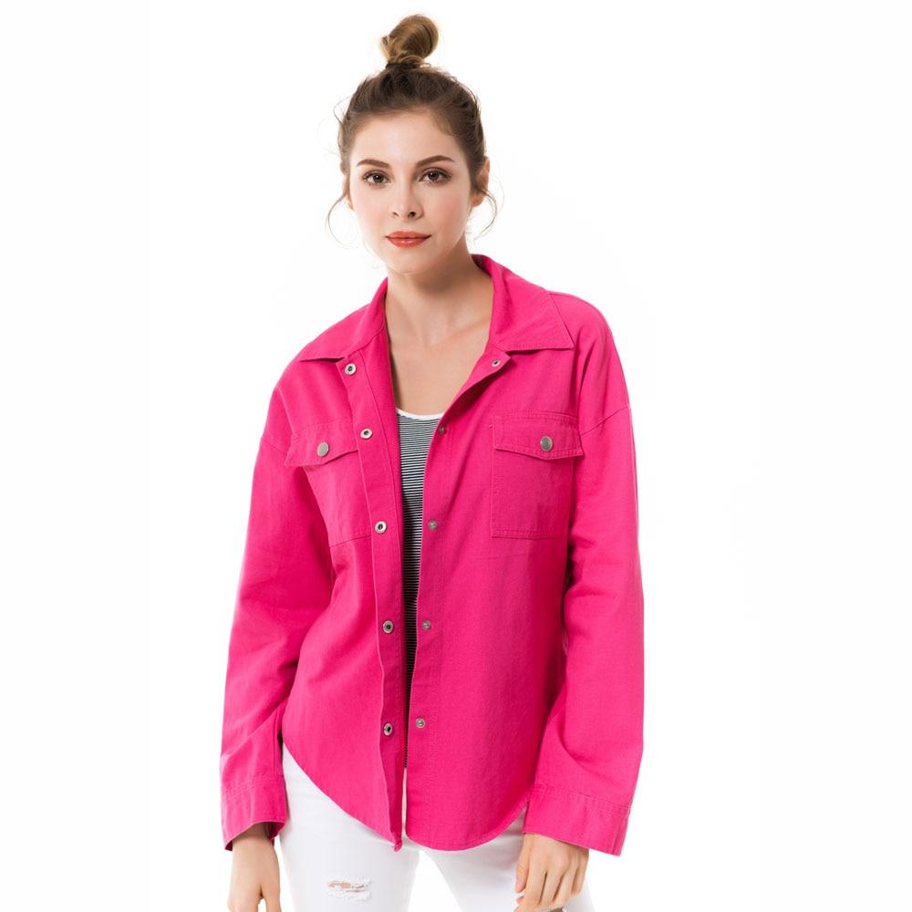 Apperloth Cotton Drop Shoulder Women's   Basic     Jackets   2018 Fall Oversize Rose Casual Female   Jacket   Coat Long Sleeves   Jacket   S-XL