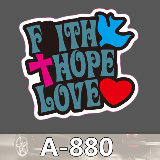 Funny faith hope and love sticker bomb waterproof graffiti doodle decal skateboard jdm hellaflush toy children