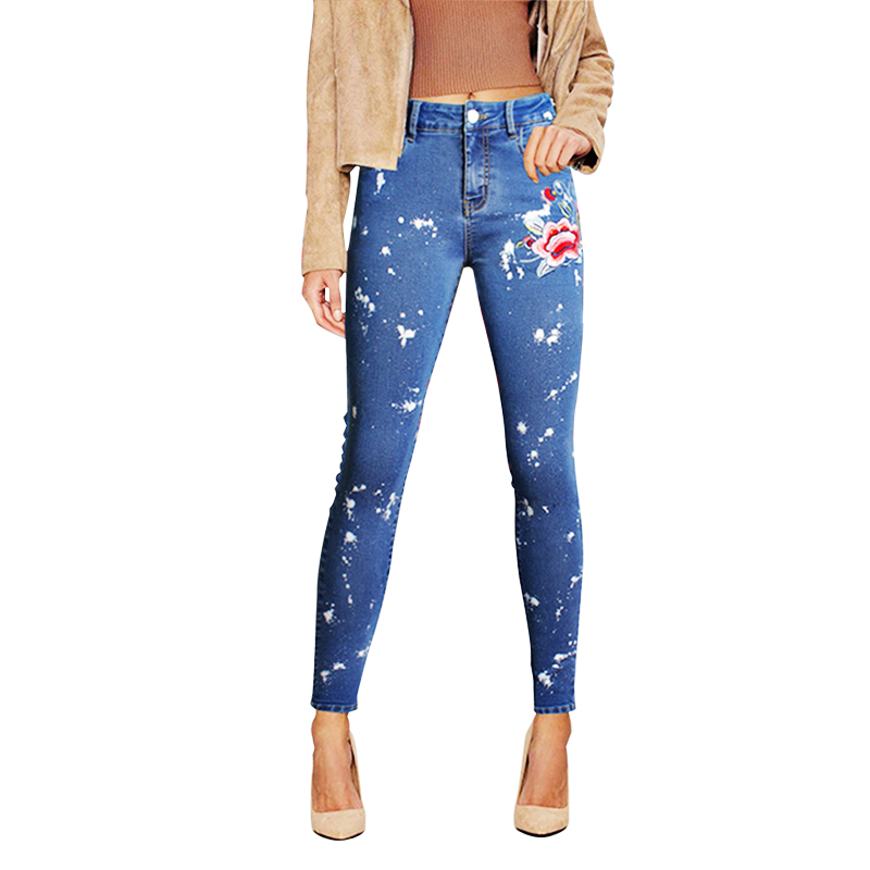 Women Blue Casual Skinny Stretch Printed Flower Embroidered Full Length High Waist Jeans Plus Size Sale