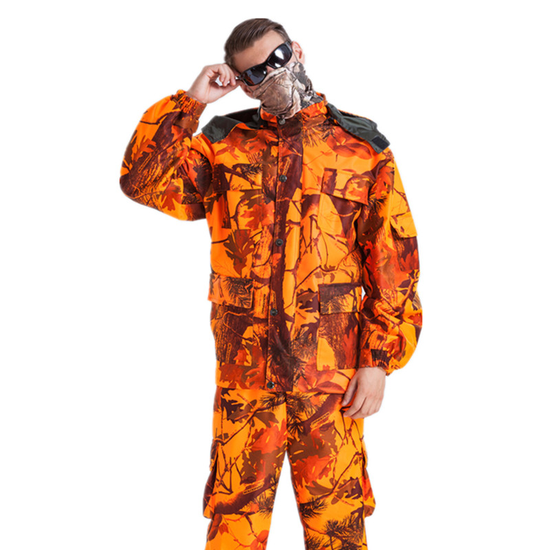 Mens Waterproof Maple Leaf Camouflage Clothing Sniper Tactical Ghillie Suits Hunting Fiery Orange Jacket and Pants bionic ghillie suits maple leaf camouflage hunting ghillie suits