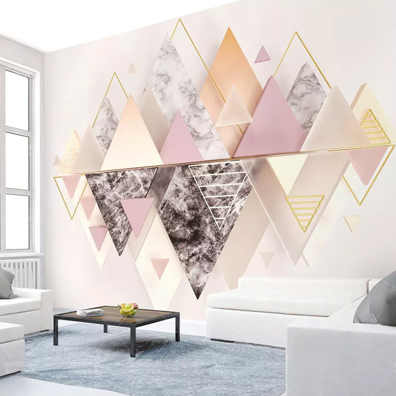 Custom Mural Wallpaper Modern 3D Geometric Triangle Abstract Art Wall Painting Living Room Bedding Room Background Wall Paper 3D