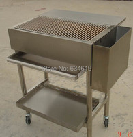 Top quality stainless steel charcoal barbecue cart, movable charcoal grille with rolling wheel, folding bbq grill with wheel