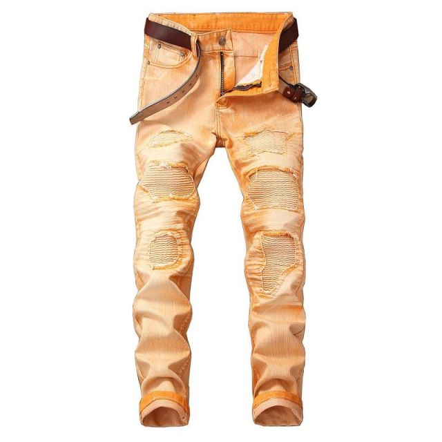 Vintage Denim Biker Ripped Calsa Jeans for Men Plue size 40 42 Retro Mens Skinny Jeans Slim Fit uomo pants Men's designer Jeans