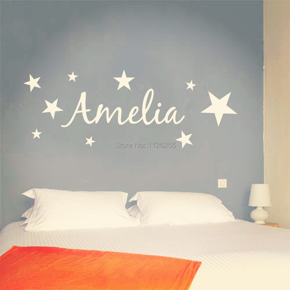 Customer made vinyl wall sticker personalized name with for Customize wall mural
