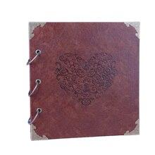 Álbum de foto de libro de recuerdos de San Valentín de 26x27cm, álbum de fotos con memoria DIY de cuero para el Día de San Valentín, regalos de aniversario de cumpleaños y boda