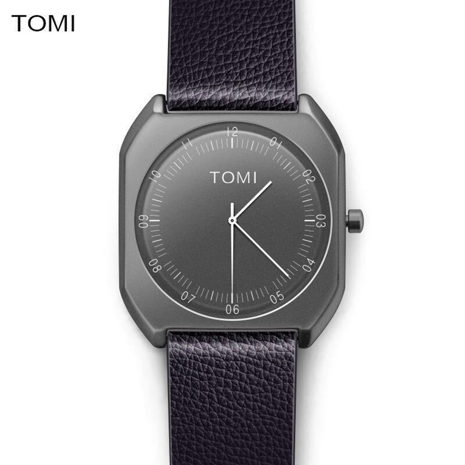 Tomi Brand Watches Man Fashion Leather Business Quartz Wrist Watch Luxury Black Simple Creative Desgin Clock Military Watch Gift