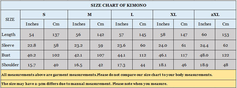 size chart of kimino