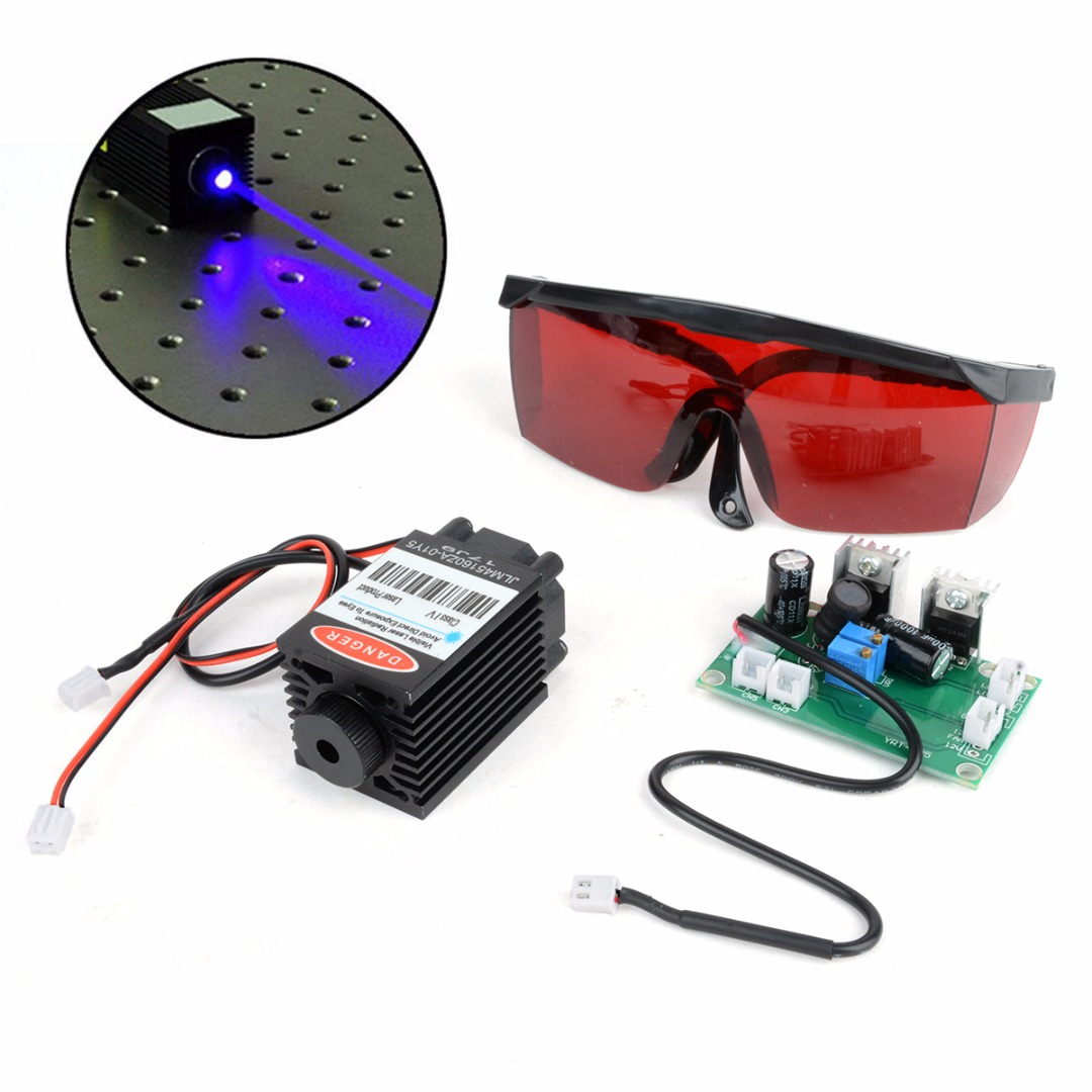 1.6W Blue Laser Head Engraving Module Powerful Wood Marking Diode + Glasses Goggles + Circuit Board For Engraver Machine high quality southern laser cast line instrument marking device 4lines ml313 the laser level