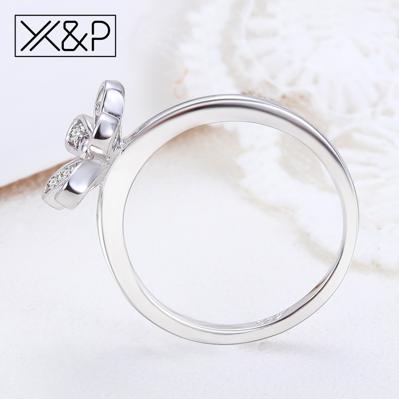 X&P Fashion Elegant 925 Silver Dazzling Daisy Flower Finger Rings for Women Girl Clear Wedding Rose Gold Ring Jewelry Gift