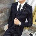 2016 моды подходит осенью и зимой мужской золото вертикальная полоса 3 piece set костюм Мужчины Пиджаки slim fit свадебные костюмы мужчины