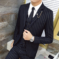 2016 fashion suits autumn and winter male gold vertical stripe 3 piece set suit Men suit Blazers slim fit wedding suits for men