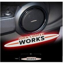 2 PCS Orador Adesivo JCW Emblema Porta Do Carro de Aço Inoxidável Maçaneta Decalques para Mini Countryman Clubman R60 R52 R53 R55 R56 R59 F55 F56