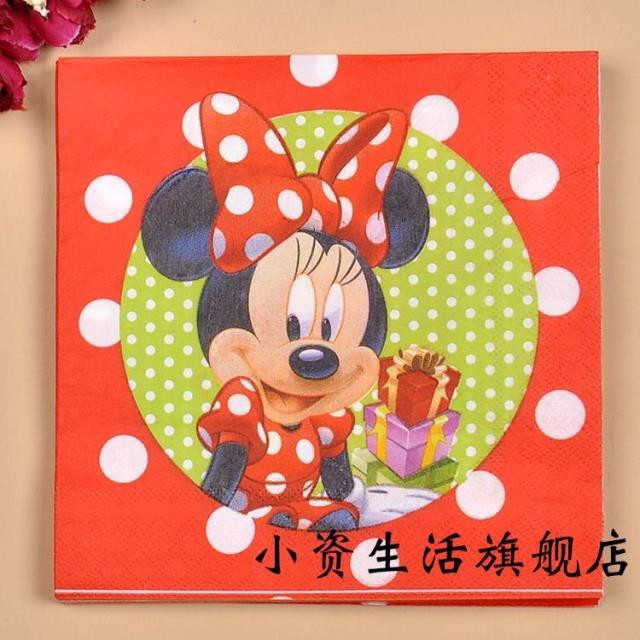 JJ180,20 pcs Red Minnie Mouse Paper Napkin for Party Decoration Supplies Kids Birthday Party Decoration