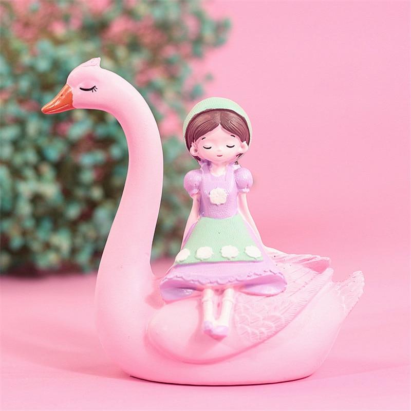Lovely Pink Swan Girl Ornament Resin Craft Home Decoration Furnishings Cake Baking Decor Ornament Brithday Gift