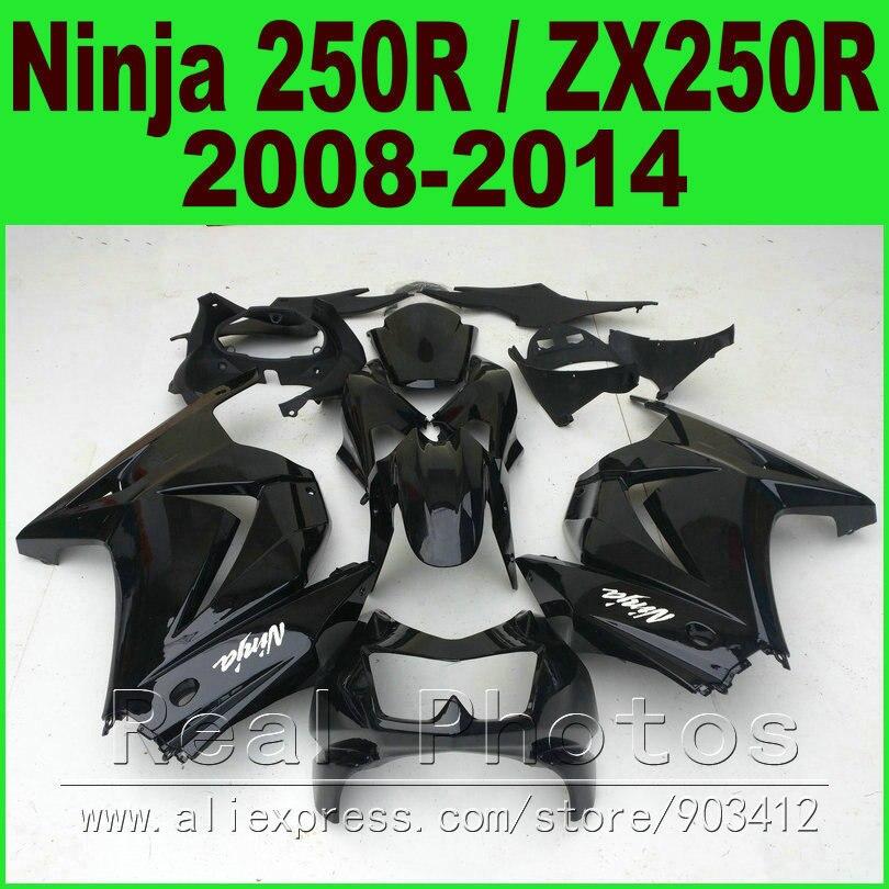 DIY все черный Кавасаки ниндзя 250р обтекатель комплект подходит для EX250 2008 - год выпуска 2014 и ZX 250 08 09 10 11 12 13 14 обтекатель комплект R8L8