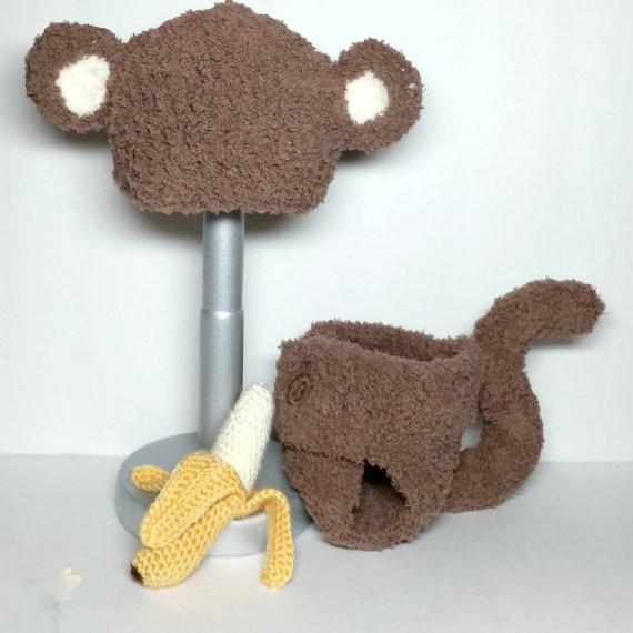 Crochet Newborn Fuzzy Monkey Hat And Diaper Cover Set With Amigurumi