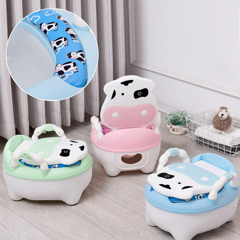 Portable Baby Pot For Children Potty Training Toilet Seat Baby Potty Infant Cow Comfortable Backrest Children Cartoon Cute Pot