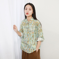 Women Vintage Print Floral Shirts Pockets Spring New Linen Long Sleeve Blouses Chinese Style Women Cloths Shirts