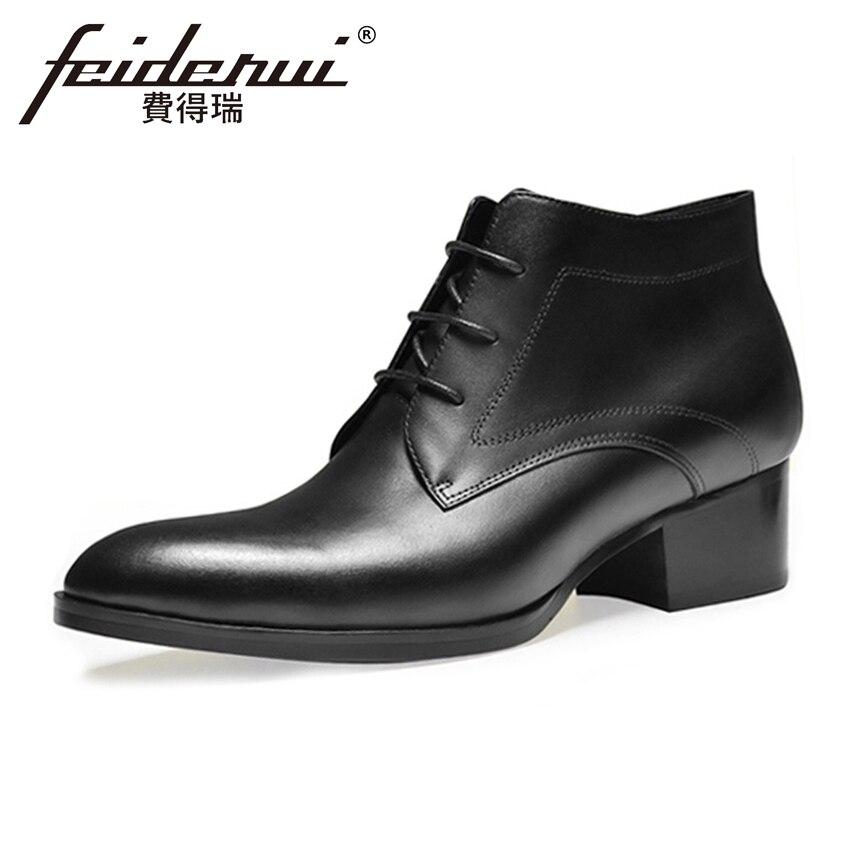 купить Classic Genuine Leather Men's Formal Ankle Boots Pointed Toe Lace up Footwear Handmade High Heels Man Cowboy Martin Shoes HQS227 недорого
