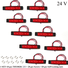 10 PCS AOHEWEI 24 V LED สีแดงด้านหลัง side marker ไฟแสดงสถานะตำแหน่งโคมไฟสะท้อนแสงสำหรับรถบรรทุกรถพ่วง RV caravan