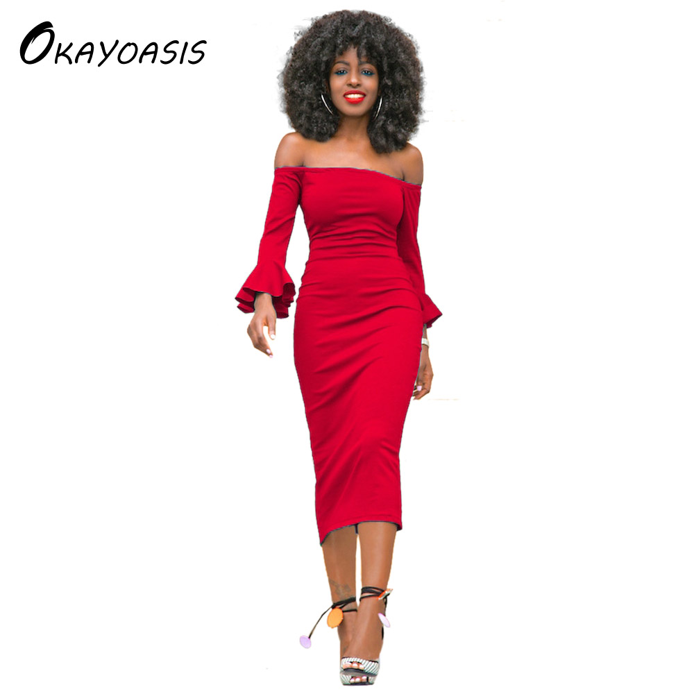 OKAYOASIS Fashion Wrist Sleeve Off Shoulder Slash Neck Sexy Club Women Dress Slim Bodycon Mid Calf Party Nightclub Dresses