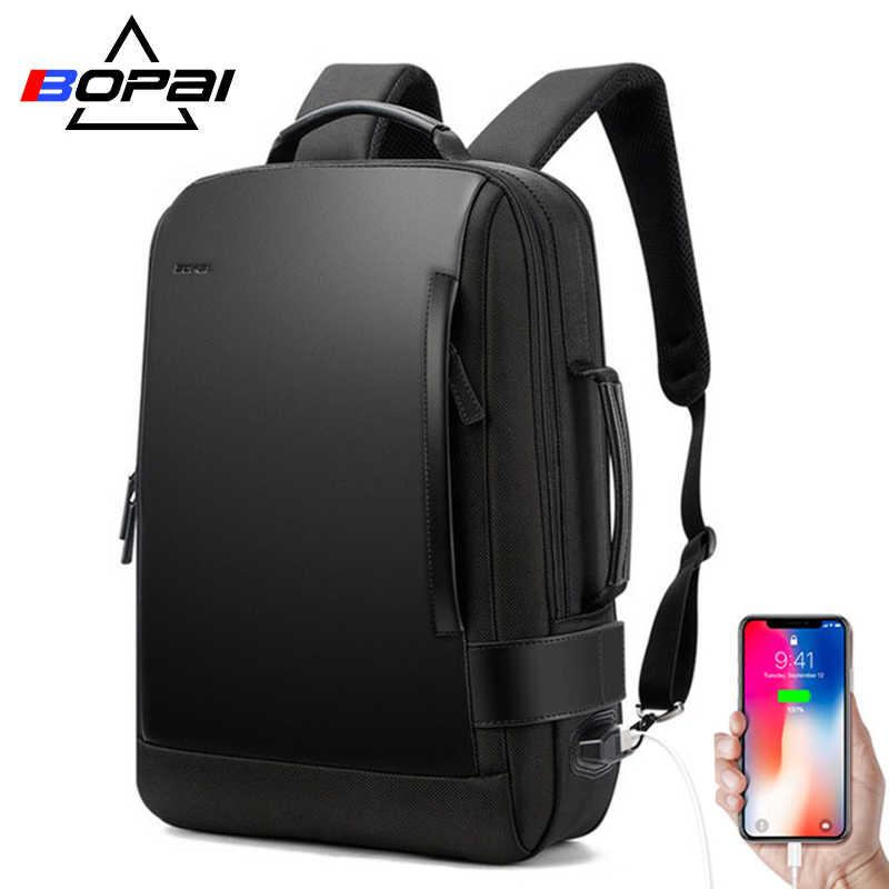 20e061ef83f1 BOPAI Brand Enlarge Backpack USB External Charge 15.6 Inch Laptop Backpack  Shoulders Men Anti-theft