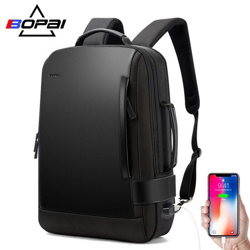 BOPAI marca ampliar mochila USB carga exterior 15,6 pulgadas ordenador portátil mochila hombres Anti-robo impermeable mochila de viaje