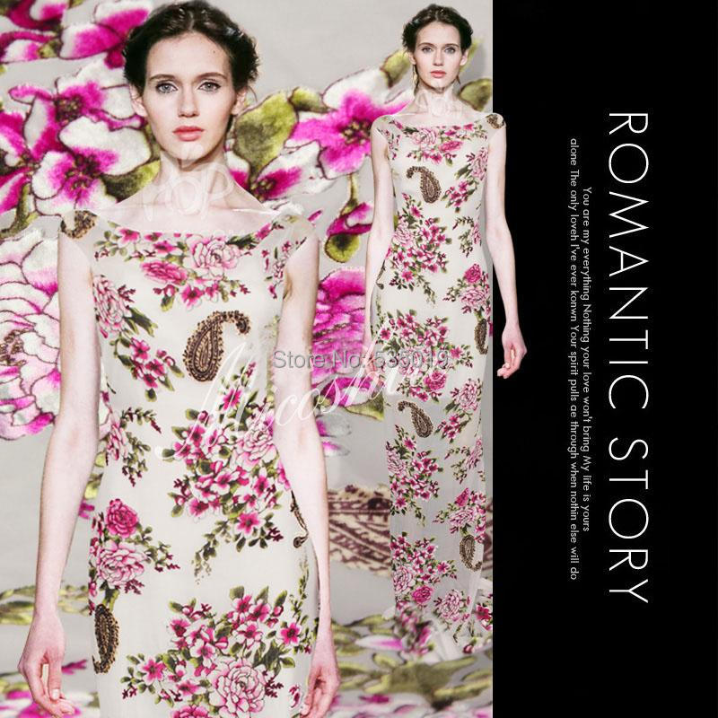 2015 spring and autumn one-piece dress silk velvet fabric full dress velvet clothes diy lace gauze pink printed silk fabric moulin à sel et poivre