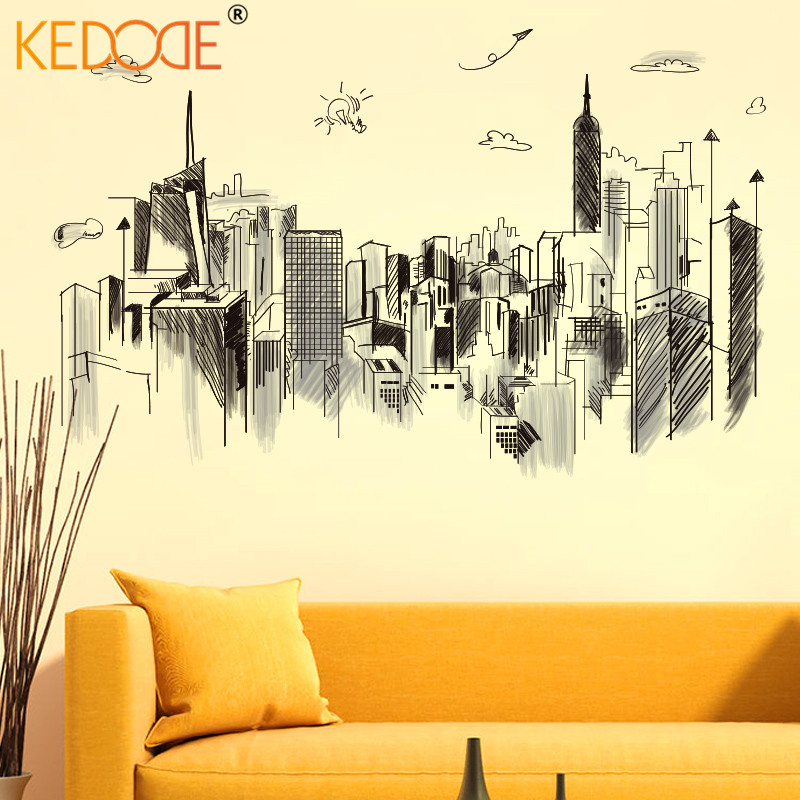 KEDODE City high-rise building wall stickers PVC living room sofa bedroom office creative decorative scenery DIY mural odorless