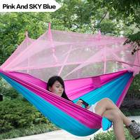 2017NEW Portable Indoor Outdoor Hammock For Backpacking Camping Bed With Mosquito Net Sleeping HammockFreeshipping