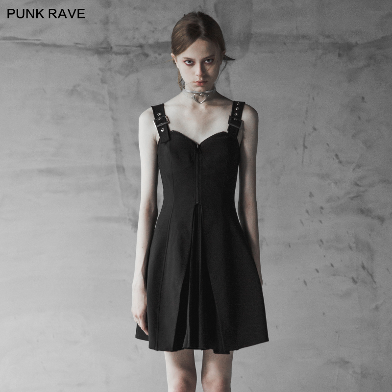 2018 Summer Punk Rave Backless Party Club Sexy Gothic Small A Pendulum Chiffon Pleated Women Dress